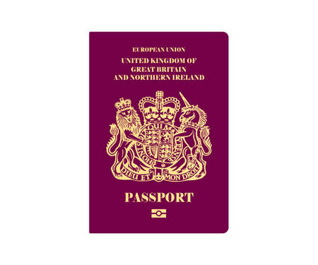British passport illustration on white background