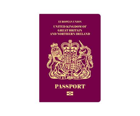 British passport illustration on white background