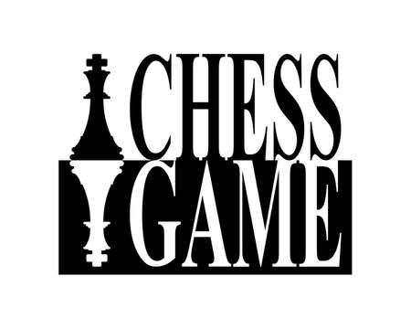 Chess game pieces and text in black and white silhouette sign