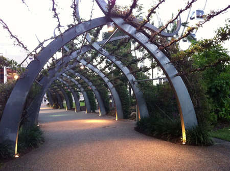 to plant structure: Botanic tunnel in Brisbane. A blend of metallic and plant structure.