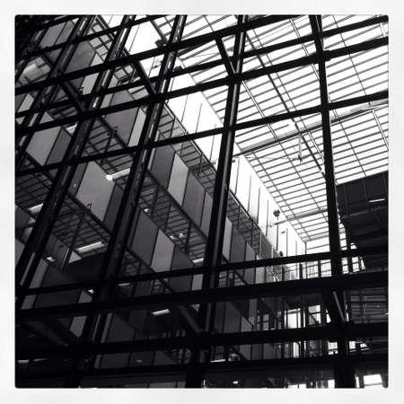 metallic: Transparent glass roof of metallic building frame Stock Photo