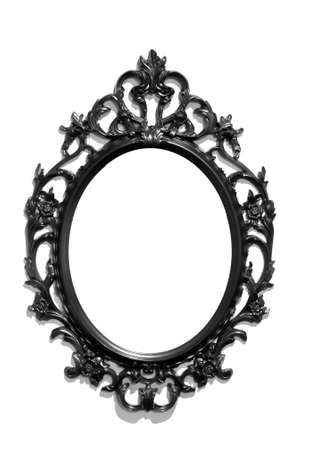 mirror image: Isolated black Victorian classical mirror frame Stock Photo