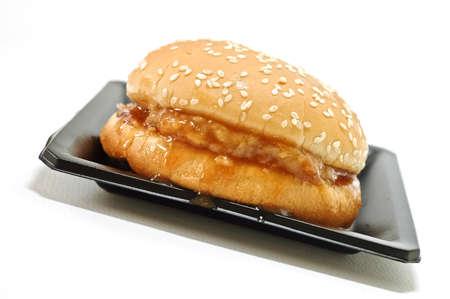 homemade hamburger on a plate isolated photo