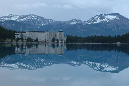 grand hotel reflection in snow mountain