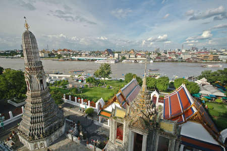 View from above the roof of Bangkok Temple of Dawn photo