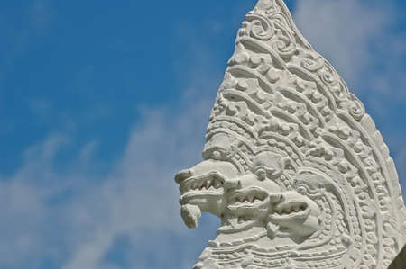 Head of Thai dragon - Naga and blue sky photo