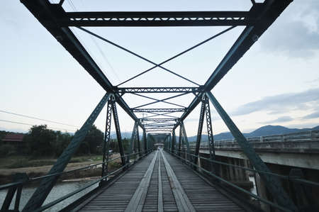 Antique memorial bridge of WWII in Pai district, Mae Hong Sorn Thailand photo