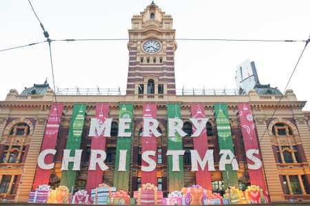 Christmas greeting from Flinders St  Train station in Melbourne Australia
