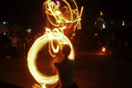 Fire swirl at night photo
