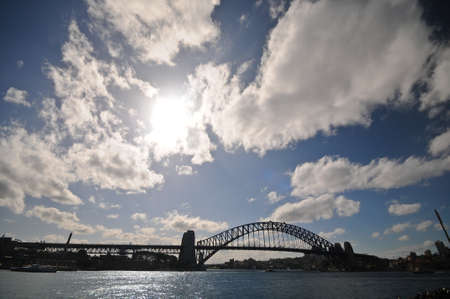 Sydney Harbour Bridge in sunny day and cloudscape photo