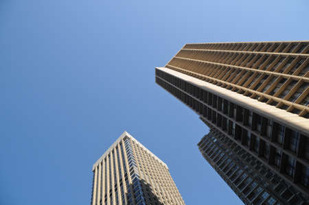 Corporate headquarters buildings and blue sky photo