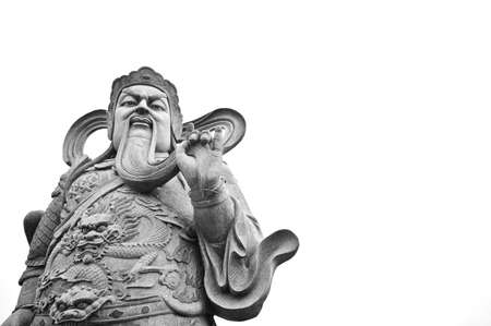 Chinese god ancient stone statue isolated photo