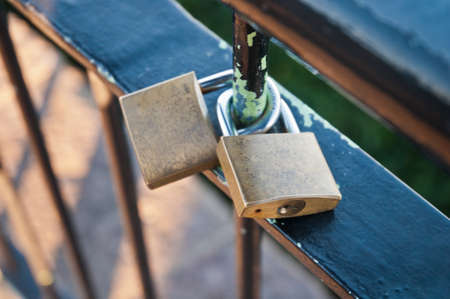 Forever love oath by couple padlocks on a handrail in South Korea photo