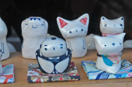 Ceramic traditional Japanese samurai pig cat kappa dolls photo