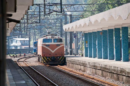 diesel train: Houtong Taipei  January 30 2015: Taiwan diesel train is parking at Houtong railway station in the morning. Diesel train is a major train systems for TSR Taiwan State Railway.