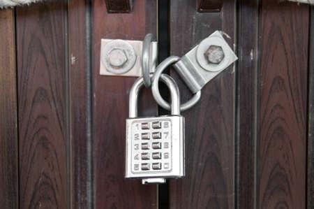 numpad: Silver numpad lock wooden door