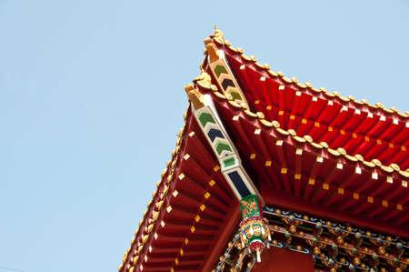 sun roof: Traditional roof Wenwu temple Sun Moon Lake Taiwan