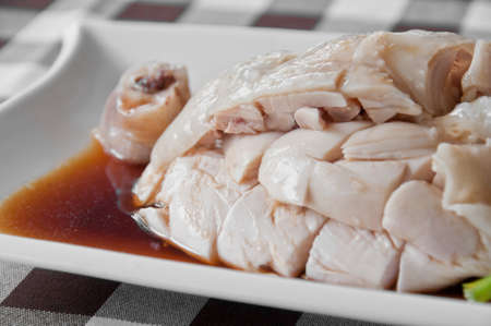chinese meal: Hainanese Chicken on soyu sauce