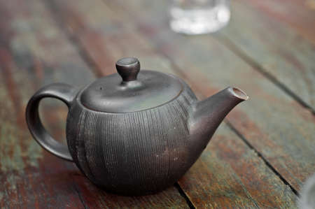 chinese tea pot: Traditional Chinese tea pot on wooden table