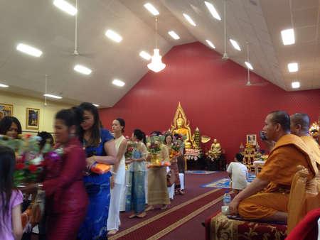 merit: Katin good deed merit event in Thai temple in Brisbane Australia Stock Photo