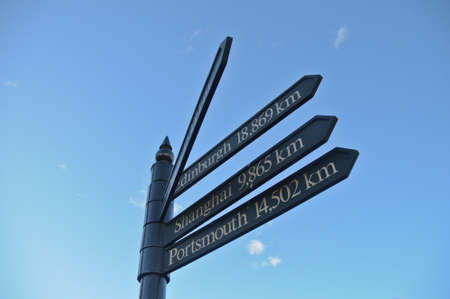 Multi-direction arrows pointing to cities around the world including Edinburgh, Shanghai, Portsmouth