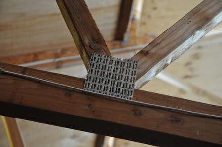 Metallic timber truss on a roof Banco de Imagens