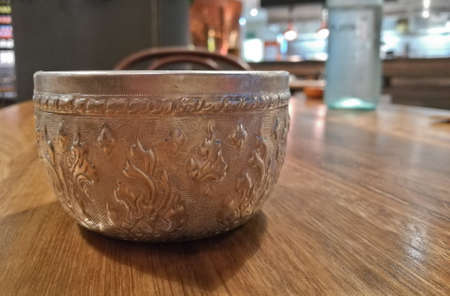 Thai antique ancient aluminium cold water silver drinking cup