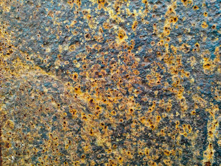 Rustic stain yellow red metal sheet industrial background Stock Photo