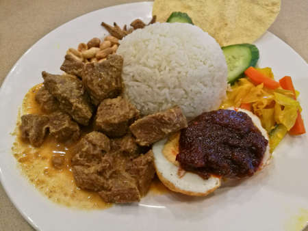 Malaysian traditional Nasi Le Mak mixed coconut rice