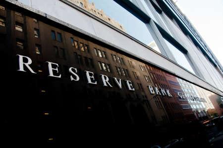 SYDNEY, AUSTRALIA - MAY 5, 2018: Reserve Bank of Australia building name on black stone wall in the center of Sydney NSW Australia.
