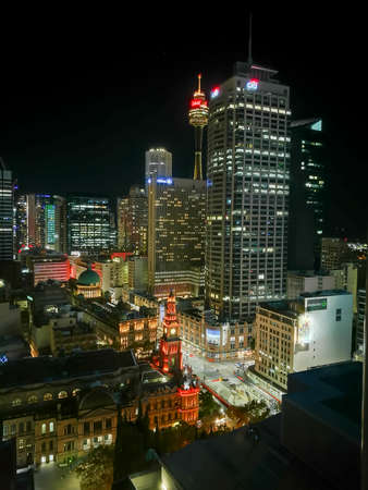 Long exposure night scene of Sydney skycrapers cityscape aerial view