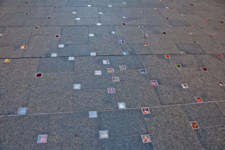 SYDNEY, AUSTRALIA - MAY 5, 2018: Reflection public art to tribute to the memory of passed away two Australians during the Martin Place siege incident in December 2014. The flowers reflect the 200 flowers contributes to the victims. Sajtókép