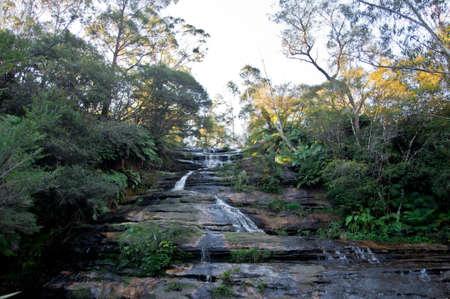 Leura cascades waterfall near Katoomba in Blue Mountains national park NSW Australia in Autumn Stock Photo