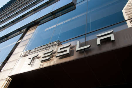 SYDNEY, AUSTRALIA - MAY 5, 2018: Tesla building in Martin Place in Sydney NSW Australia. Tesla is an electronic automotive industrial company from the USA.