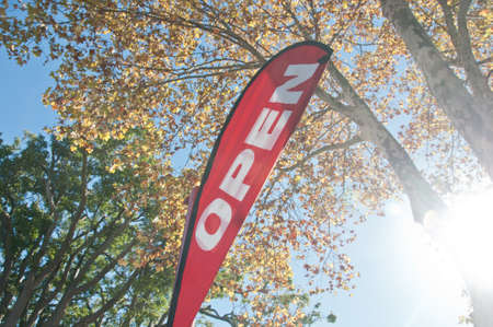 Red Open House for SaleRent signage in Autumn Stock Photo