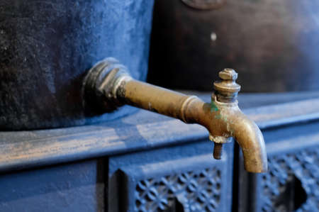 Classic golden brass old vintage water tap