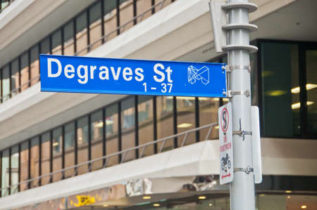 MELBOURNE, AUSTRALIA - JULY 26, 2018: Blue metal sign of Degraves Street on a pole in Melbourne Australia