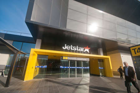 MELBOURNE, AUSTRALIA - JULY 26, 2018: Domestic departurs terminal 4 of Jetstar building airport in Melbourne Australia