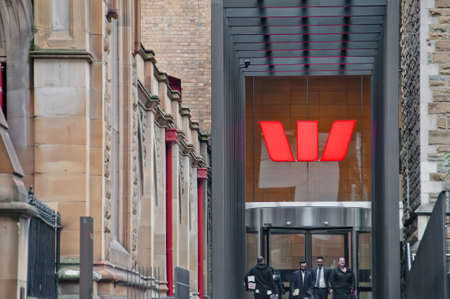 MELBOURNE, AUSTRALIA - JULY 26, 2018: Business people walking in front of Westpac bank in Melbourne Australia Editorial
