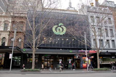 MELBOURNE, AUSTRALIA - JULY 26, 2018: Woolworth Metro grocery store in Swanston Street Melbourne Australia