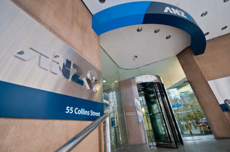 MELBOURNE, AUSTRALIA - JULY 26, 2018: ANZ Bank branch at 55 Collins St in Melbourne Australia