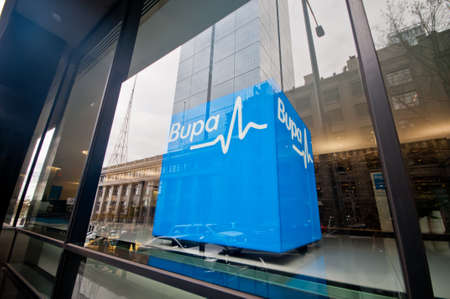 MELBOURNE, AUSTRALIA - JULY 26, 2018: Bupa health insurance company corporate head quarter decoration in Melbourne Australia
