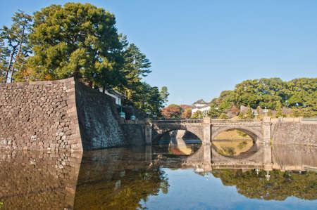 TOKYO, JAPAN - DECEMBER 1, 2018: Nijubashi Bridge (Eyeglass bridge or Double bridge) that connects the Royal Imperial Palace front plaza and the palace. The bridge only opens to welcome state guests visit Japan or there is Royal ceremony. There is nobody  報道画像
