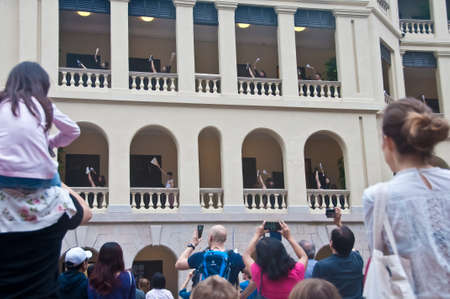 HONG KONG, HONG KONG SAR - NOVEMBER 17, 2018: Ballet in the city performance at Tai Kwun old Hong Kong Prison. There are many performers and crowds in the photo. 報道画像