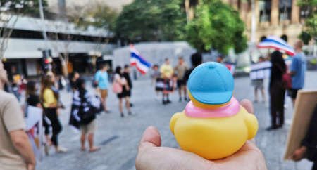 BRISBANE, AUSTRALIA - NOVEMBER 29, 2020: Yellow rubber duck represents a sympbol of innocent people in the peacefully rally at King George Square, City Hall, in Brisbane Australia to protest the dictatorship of the prime minister Prayuth Chan-ocha in Thai 写真素材 - 159832254