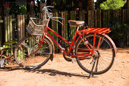 frence: Orange Vintage Bicycle with wicker basket in garden, Countryside, Thailand Stock Photo