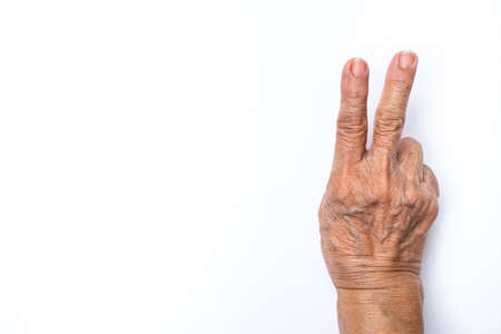 Senior woman's hands counting 2 isolated on white background, Numbers 1-10 in sign language concept