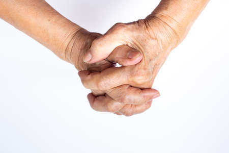 hand in hand, Senior womans hold her hands isolated on white background, Body language concept