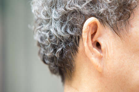 Senior woman' s ear to listening, Close up Imagens
