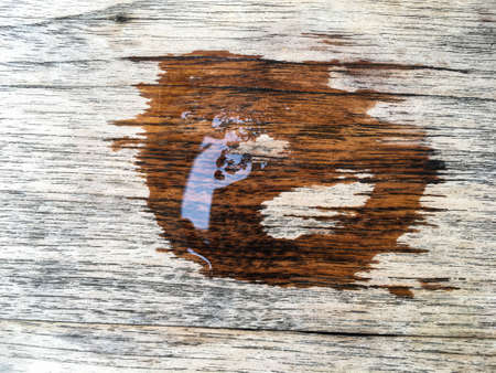 Trace water from cup on wood texture, Abstract background, sign concept